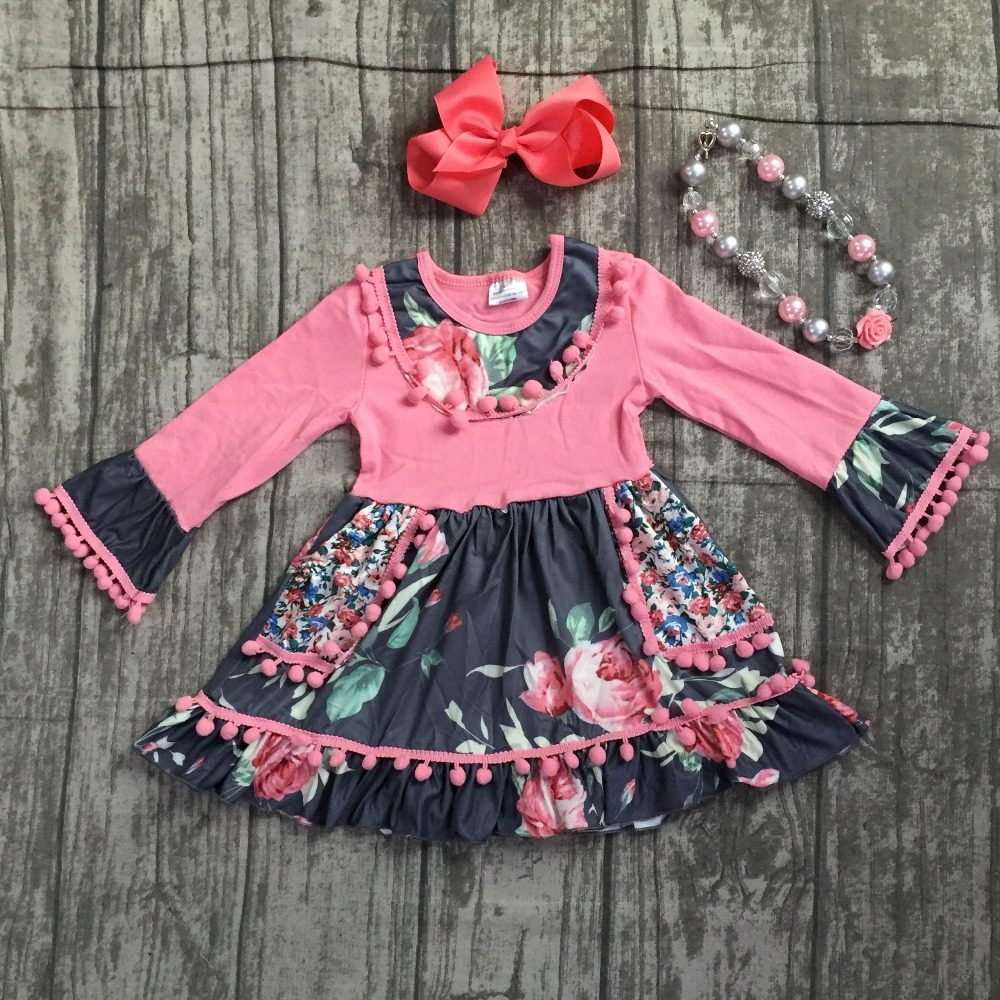 new 2018 autume Fall/winter girls ruffle boutique coral floral grey dress pom-pom children clothes milk silk match accessories plus striped trim ruffle hem heather grey dress