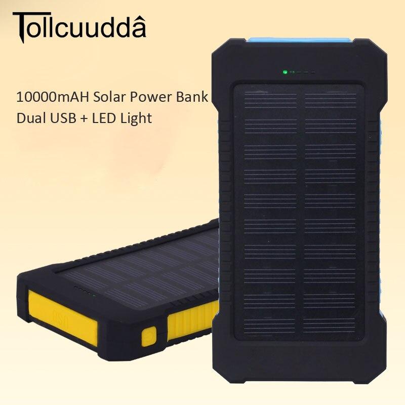 bilder für Tollcuudd 10000 mAh Tragbare Solar Panel Ladegerät Dual USB Power Bank für iPhone 6 6 S 7 Plus Samsung Verlängern Batterie lade