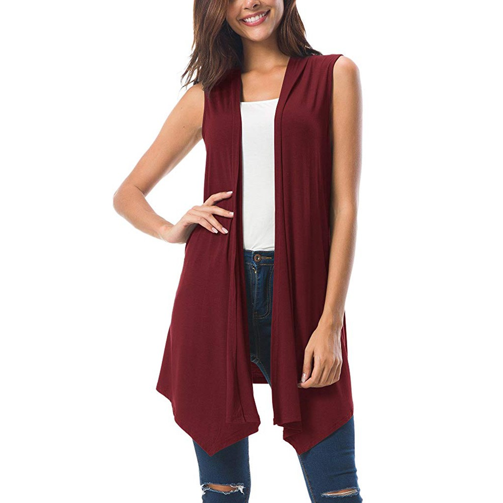 2019 Autumn Winter Fashion Women Sleeveless Draped Open Front Cardigan Sweater Women Knitted Female Cardigan Pull Femme Z0703
