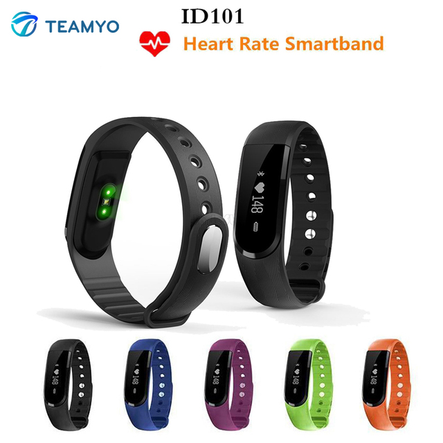 TEAMYO Smart Activity Tracker ID101 Bluetooth Sports Wristband Heart Rate Monitor SMS Sync Smart Band for Android And iOS