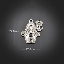 120pcs Antique Silver Flower House Alloy Pendant Charms+Jewelry Accessories For earrings Necklace Bracelet Earrings 17.8X24.6mm