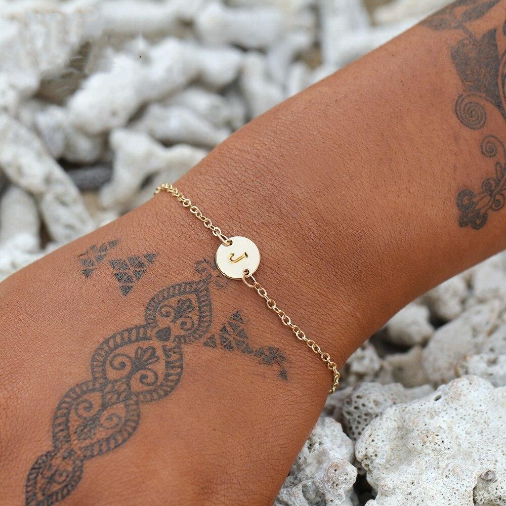 IF ME Fashion Initial Letter Round Charms Bracelet & Bangle for Women Pulseras Capital J K Pendant Chain Name Bracelets Jewelry 1