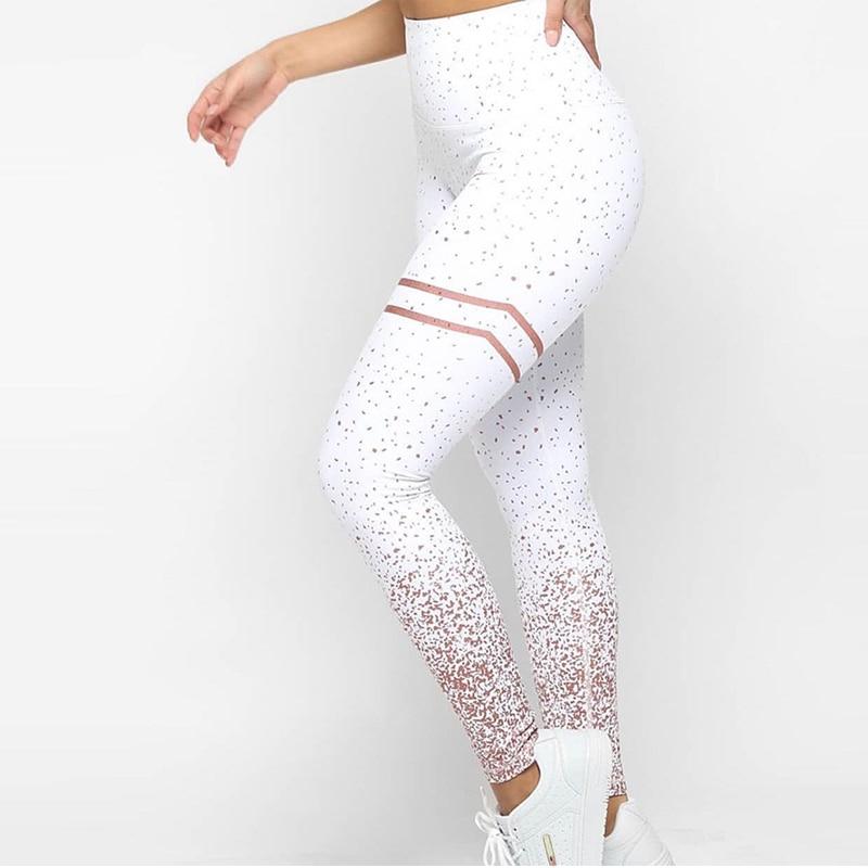 NORMOV New Hotsale Women Gold Print Leggings No Transparent Exercise Fitness Leggings Push Up Workout Female Pants 2