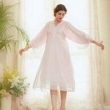 Spring Retro Lace Nightdress Women Long Nightgowns V-Neck Sleepshirts Sleepwear Patchwork Sleeve Sleeping Dress