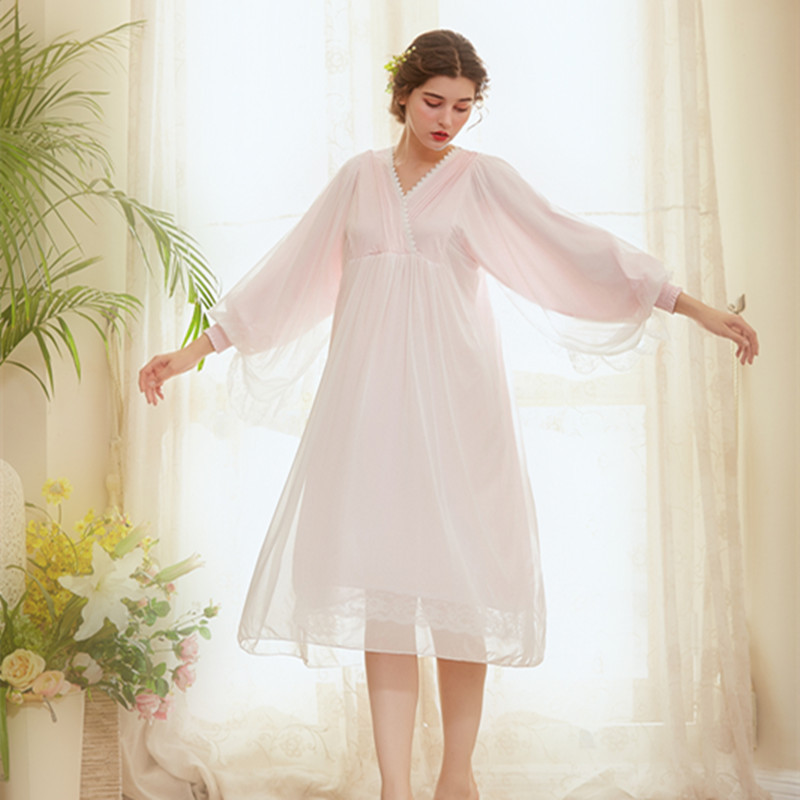 Spring Retro Lace Nightdress Women Long   Nightgowns   V-Neck   Sleepshirts   Sleepwear Patchwork Long Sleeve Sleeping Dress