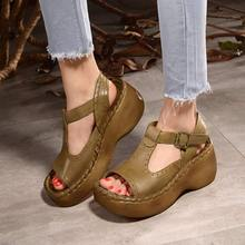 2017 New Summer Women Leather Genuine Leather Shoes Etremely Light Sole 5CM Female casual handmade light sandals HG3018-21