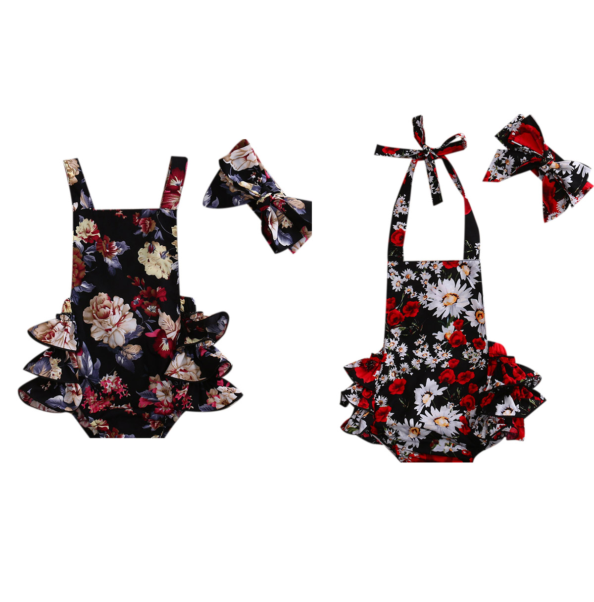 Newborn Infant Baby Clothes Girl Lace Strap Floral Romper Jumpsuit + Headband 2pcs Summer Baby Girl Romper Clothes Baby Onesie newborn infant baby clothes girl floral strap lace romper jumpsuit playsuit outfit cute summer baby romper onesie