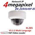 2015 Mais Novo H.265 Multi Language DS-2CD3145F-IS 4MP Câmera Mini Dome IP Câmera 1080 P POE Câmera de Vigilância Com Áudio