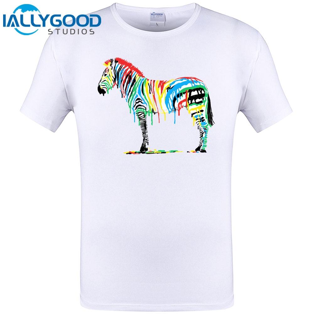 Zebra shirt design - 2017 New Cool Design Fresh Paint Zebra Print Mens T Shirt Summer Short Sleeve Tops Hipster