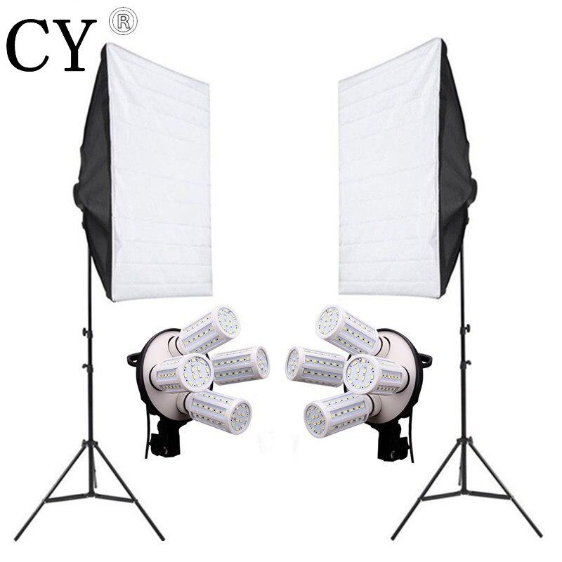 8PCS E27 20W LED Bulbs Photography Lighting Kit Photo Equipment 220v 2PCS Softbox Lightbox+Light Stand For Photo Studio Diffuser