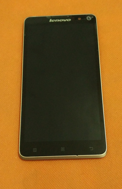Used Original LCD Display +Digitizer Touch Screen+ Frame For Lenovo S898T+ MT6592 Octa Core 5.3'' HD TD-SCDMA Free Shipping