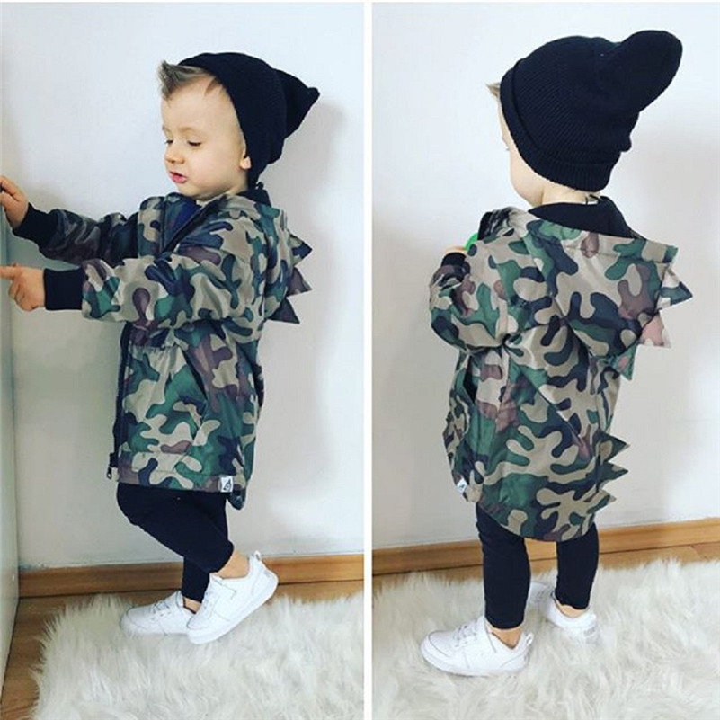 Winter 2018 kids clothes newstyle Kids Baby Boy Dinosaur Camouflage Hooded Windbreaker Tops Coat Jacket Clothes for baby QC3 одежда на маленьких мальчиков