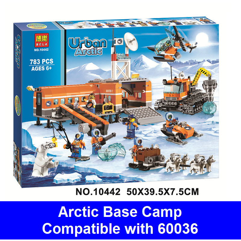 Superwit Bela 10442 783Pcs City Arctic Base Camp Policeman Figure Building Blocks Bricks Compatible Lepin 60036 Toy For Children bela 10439 compatible lepin city arctic helicrane building blocks policeman figure toys for children girls