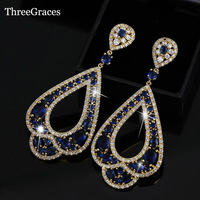 Luxury African Evening Party Jewelry 18K Yellow Gold Plated CZ Diamond Micro Pave Sapphire Blue Dangle