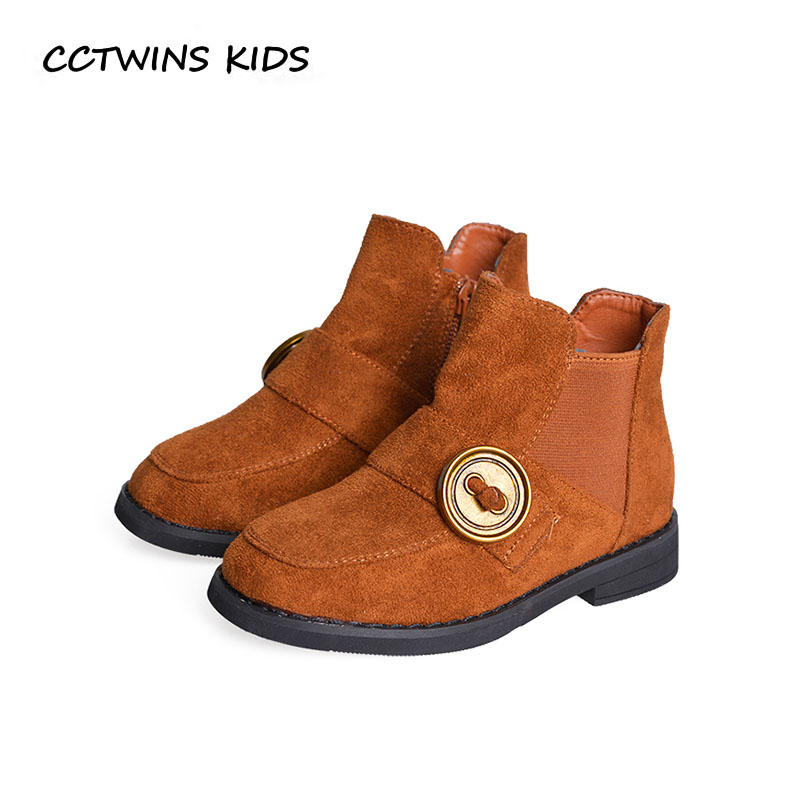 CCTWINS KIDS 2018 Winter Children Leather Suese Boot Boy Fashion Ankle Boot Baby Girl Black Warm Shoe Toddler CF1562