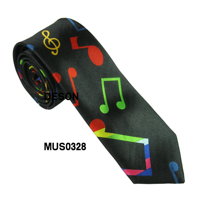 2018 Hot Fashion New Printed Musica Guita Piano Necktie Ties Helloween Festival Christmas Holiday Novelty Tie