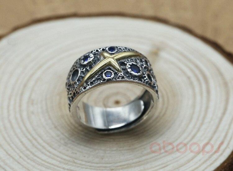 Dernière Vintage 925 en argent Sterling étoile ouverte anneau avec croix en or pour hommes garçons réglable livraison gratuite - 6