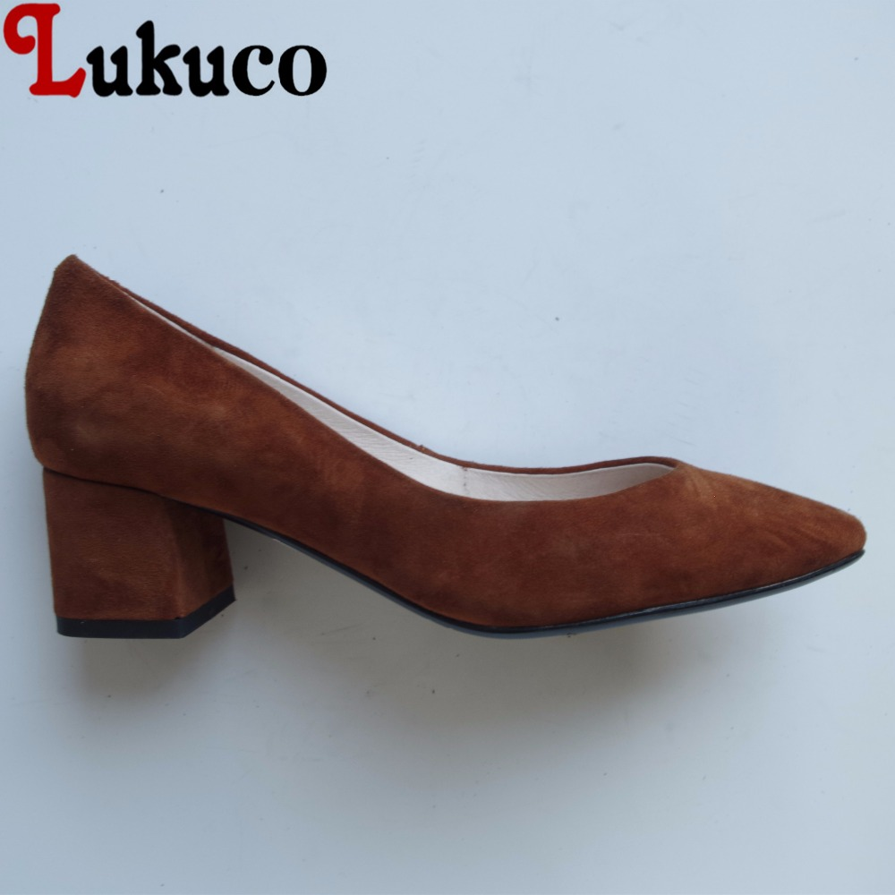 Lukuco elegant style pure color women pointed toe pumps microfiber made low square heel shoes with pigskin inside lukuco pure color women mid calf boots microfiber made buckle design low hoof heel zip shoes with short plush inside