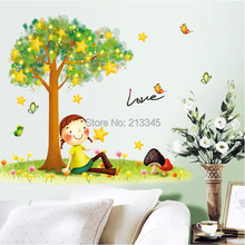 [Saturday Monopoly] free shipping under the Stars tree little girl cartoon wall decor decal <font><b>home</b></font> bedroom kids room wall sticker