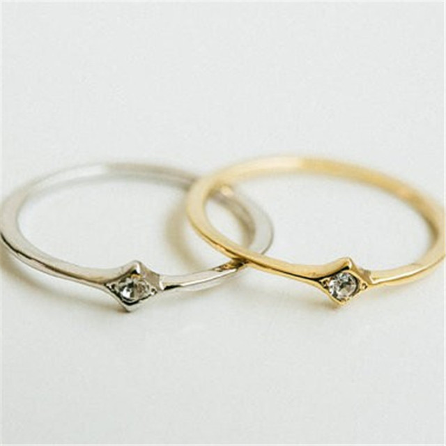 Dainty slim knuckle ring Silver plated rings Jewelry Gold color
