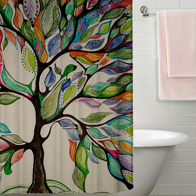 Polyester Waterproof Shower Curtain Gorgeous Feather Colorful Life Tree Bathroom  Shower Curtain Fabric Kids Decorative Curtain