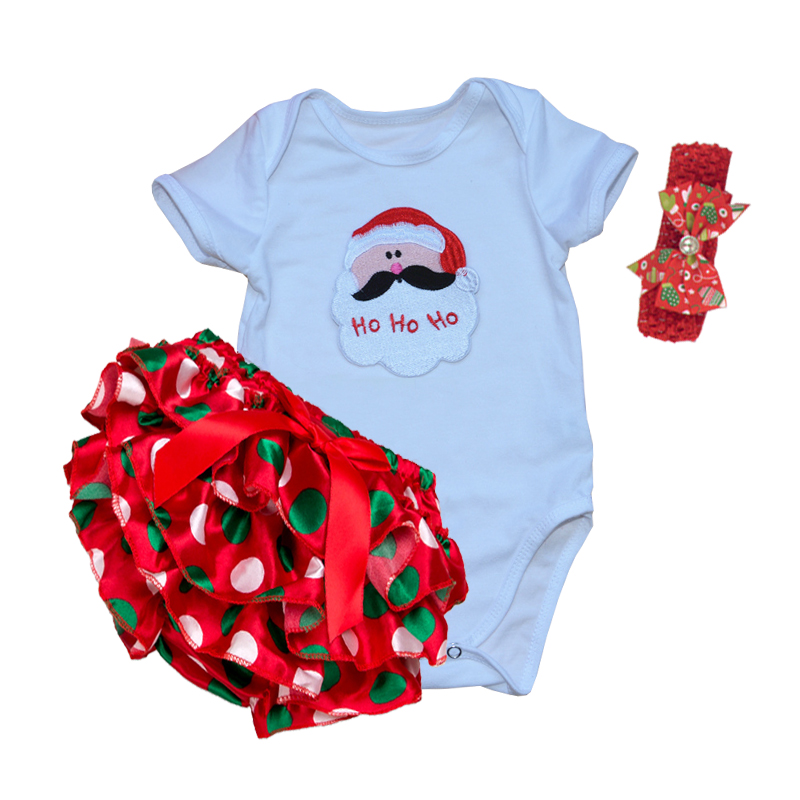 Newborn Baby Girl Clothing Set Christmas Short Shoes Headband Bodysuit bebe Baby First Birthday Outfit Toddler Girl Clothes gift 2017 floral baby romper newborn baby girl clothes ruffles sleeve bodysuit headband 2pcs outfit bebek giyim sunsuit 0 24m