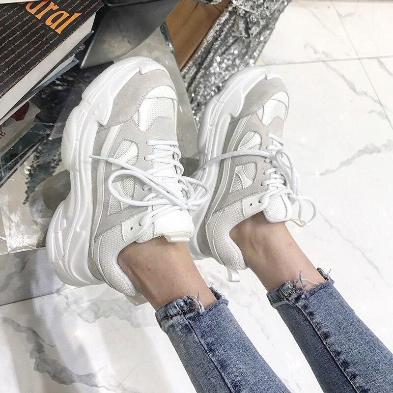 Chunky Mode Sale Appartements rouge Sneakers 2019 Plate Cuir Vintage Rétro Épaisse Sneaker Chaussures Semelle Papa Femmes Véritable De En forme Noir wUzqtzRX
