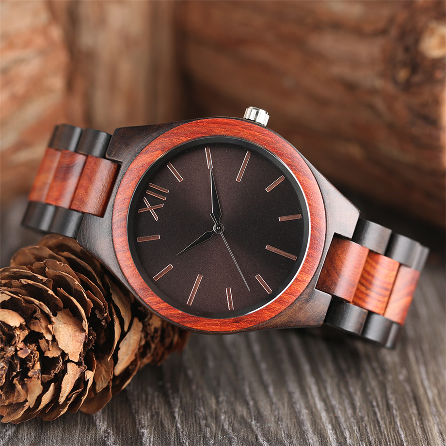 Dark Brown Sapphire Blue Nature wood watch men casual 8