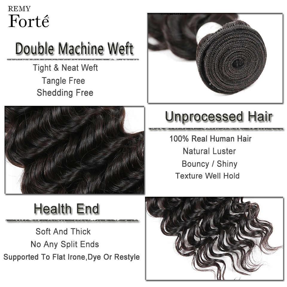 Remy Forte 30 дюймов пучки с фронтальным бразильским плетением волос пучки глубокая волна пучки с закрытием 2 3 пучка с фронтальной