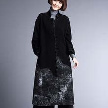 Wool Winter Coat Women ink silk embroidery Long Sleeve Cardigans Turn-down Collar X-long Wide-waisted Warm Outerwear Trench