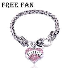Free Fan Custom Diabetes Medical Bracelet For Women Vintage Rhinestone Heart Charm Bracelet Jewelry Gift Bracelets&Bangles