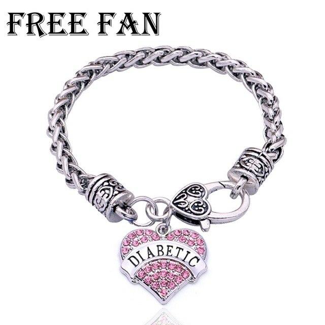 Free Fan Custom Diabetes Medical Bracelet For Women Vintage Rhinestone Heart Charm Jewelry Gift Bracelets Bangles