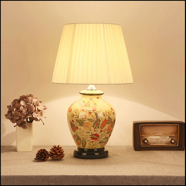 Chinese style branches&leaves ceramic art Table Lamps Fashion warm fabric E27 LED lamp for bedside&foyer&studio&tea room MF002 series 1 leaves tea