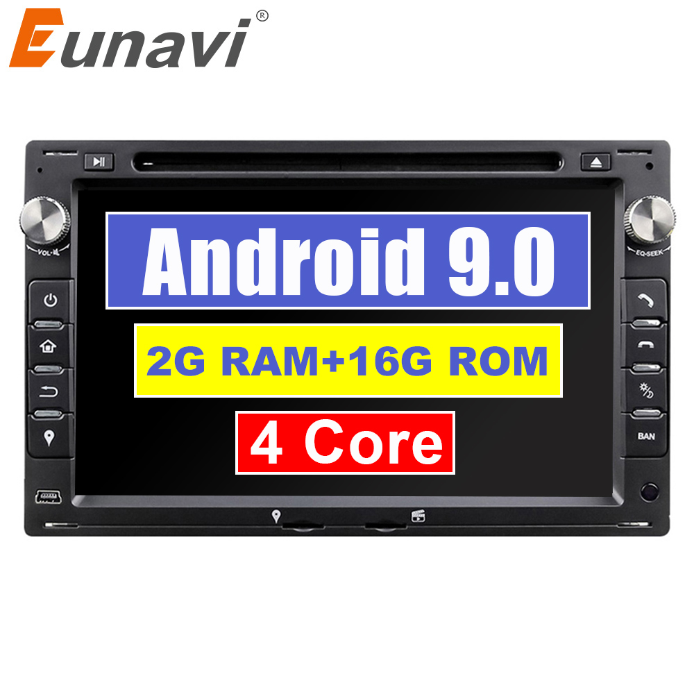 Eunavi 2 Din 7'' Android 9.0 Car DVD Player Quad Core GPS Radio For VW/Volkswagen/PASSAT/B5/MK5/GOLF/POLO/TRANSPORTER Stereo BT