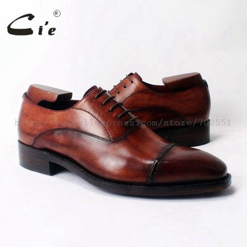 Cie Carré Cap-Toe Lace-Up Oxfords Sur Mesure En Cuir Chaussures Hommes Faits À La Main En Cuir Chaussures 100% Véritable Veau En Cuir Cousu Goodyear OX321