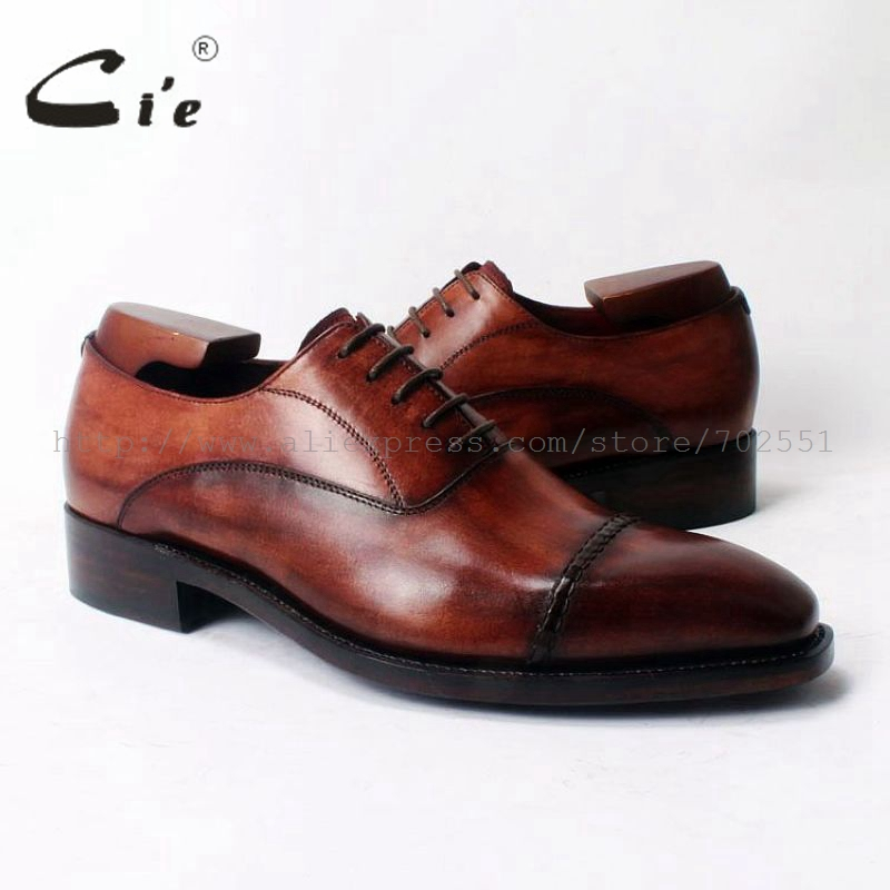 cie Square Cap-Toe Lace-Up Oxfords Bespoke Leather Shoe Handmade Men Leather Shoe 100%Genuine Calf Leather Goodyear Welted OX321 cie calf leather bespoke handmade men s square toe derby leather goodyear welt craft mark line shoe color deep flat blue no d98