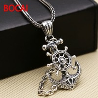 Factory Wholesale Silver Jewelry S925 Anchor Pendant Silver Pendant Chain Retro Punk Pirate Men