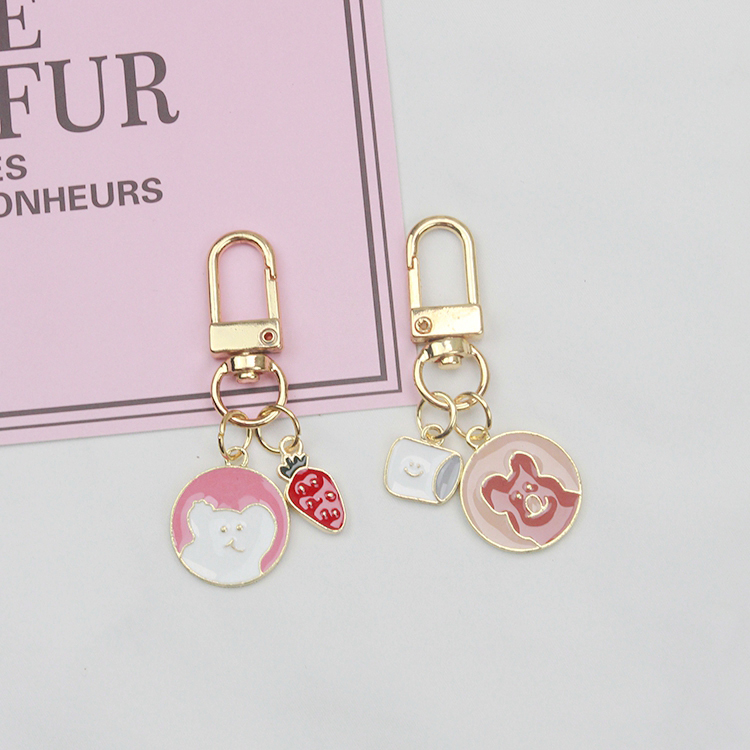 Cute Cartoon Bear Rabbit Bunny Keychain For Girl Women Sweet Key Chains Ring Car Bag Pendent Charm Airpods Accessories D334