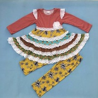 Mustard Pie Girls Fashion Clothing Sets Layers Ruffle Dress Kids Top Yellow Print Pants Children Remake Cotton Outfits F045