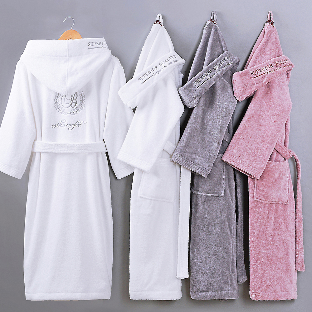 Winter Women Bathrobe Hooded Men Autumn Thick Warm Towel Fleece Sleepwear Long Robe Hotel Spa soft