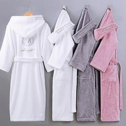Winter Frauen Bademantel Mit Kapuze Männer Herbst Dicke Warme Handtuch Fleece Nachtwäsche Lange Robe Hotel Spa weiche Lange Nachthemd Kimono robe