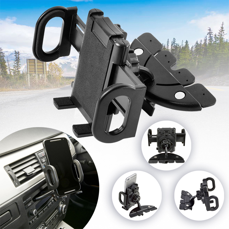 Black 360 Degree Car CD Slot Mount Phone Holder Stand For Samsung Galaxy Mobile Cell Phone Stand Holder For GPS PSP MP3 Players