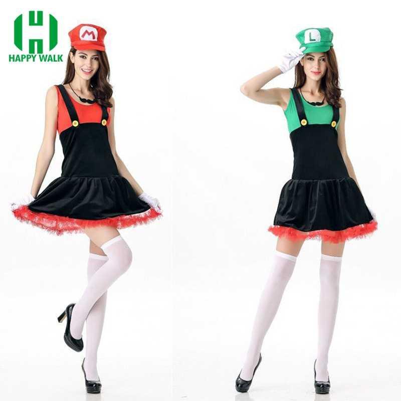 סופר מריו תלבושות נשים ליל כל הקדושים קוספליי Luigi תלבושות סקסי שרברב תלבושות סופר מריו Bros פנטזיה תלבושות עבור נשים