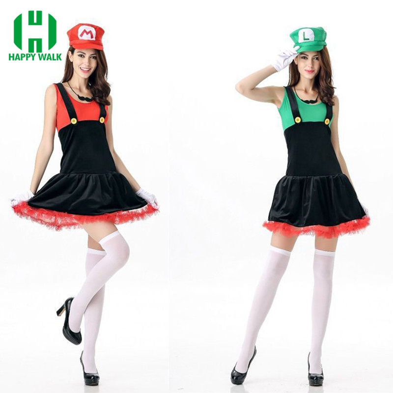 Super Mario Costume Women Halloween Cosplay Luigi Costume Sexy Plumber Costume Super Mario Bros Fantasia Costumes For Women