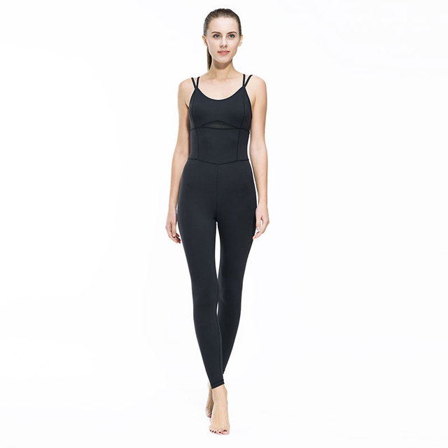 Yoga Jumpsuit Gym Running Sports Suit Lady Tight Clothing Breathable Quick Dry Sportswear Sets Patchwork Tracksuit 2