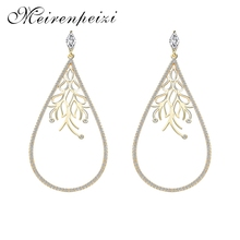 High Quality Water Droplets Exquisite Line Art Earrings Gold And Silver Color Matching Noble Temperament Copper Zircon
