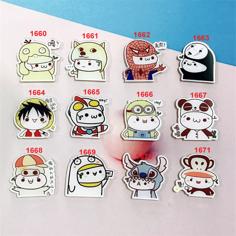 Funny Wearing Headgear Cartoon Character Icon Pins For Clothes Acrylic Badges Children Anime Brooches For Backpack Accessories