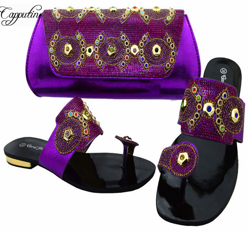 Capputine Fashion Nigeria Woman Slipper Shoes And Bags Set Summer Style Low Heels Purple Shoes And Purse Set For Party BCH-37 rural urban migration in southeastern nigeria