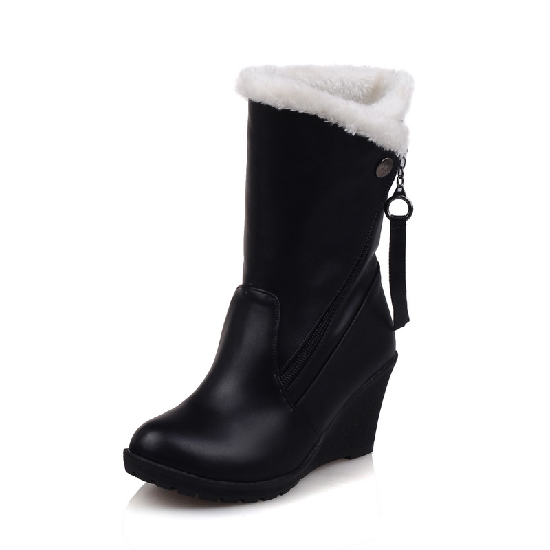 New Fashion Women Mid-Calf Boots Round Toe Wedges Boots Stylish Black Red White Shoes Woman US Size 3.5-12 stylish mid waist cuffed denim ripped shorts for women