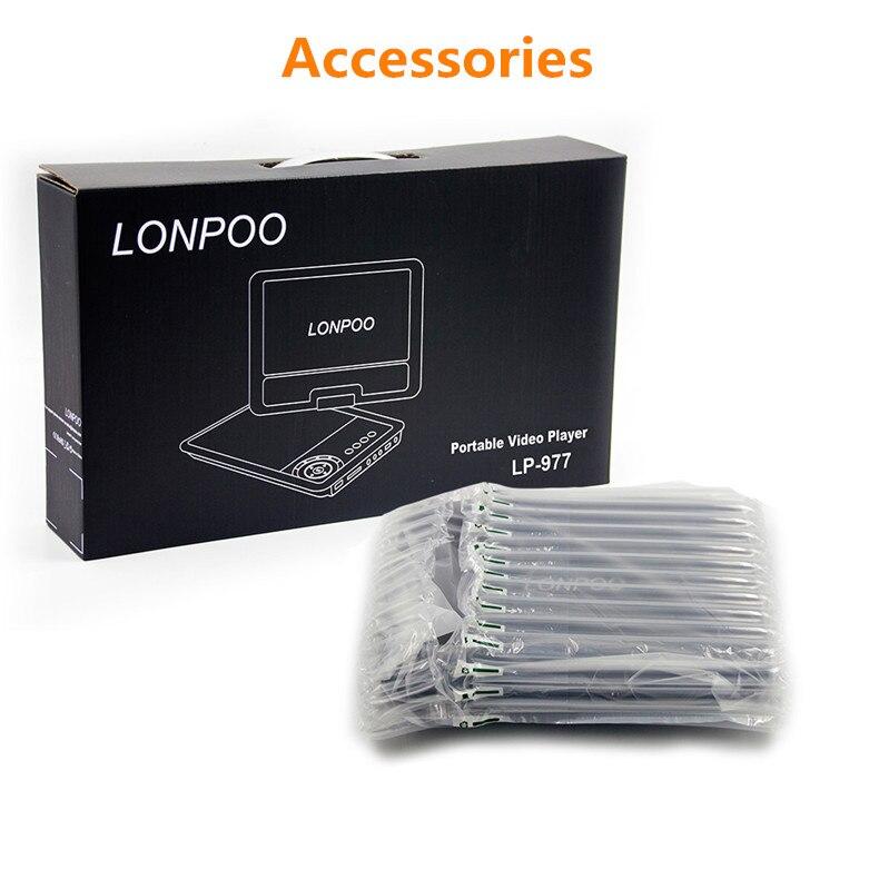 LONPOO nouveau 9 pouces Portable lecteur DVD écran pivotant VCD CD MP3 lecteur DVD USB carte SD RCA TV câble jeu voiture chargeur lecteur DVD - 5